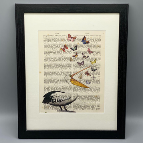 Framed Pelican & Butterflies on Antique Book Page