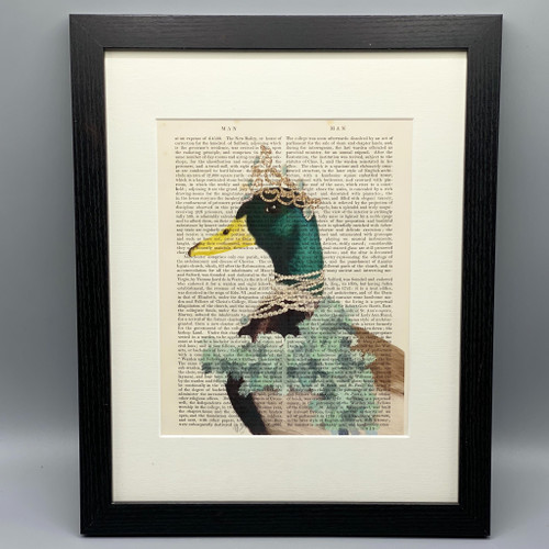 Framed Lady D Duck on Antique Book Page