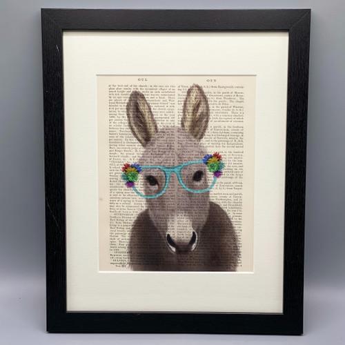 Framed Donkey Flower Glasses on Antique Book Page