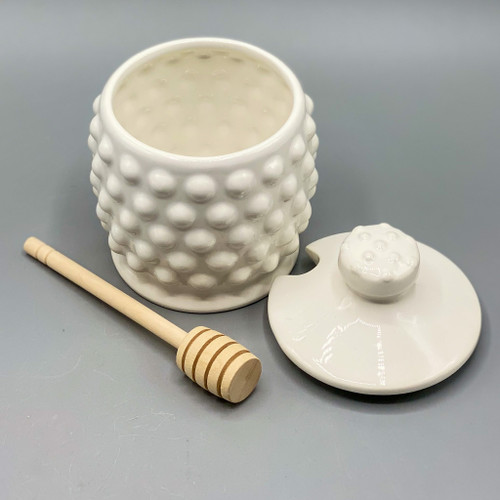 Ceramic Hobnail Honey Jar with Wooden Dipper