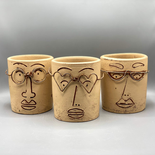 Clay Face Planter with Wire Glasses