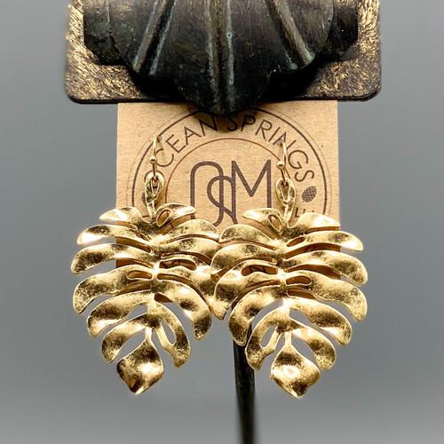 Gold Monstera Leaf Earrings