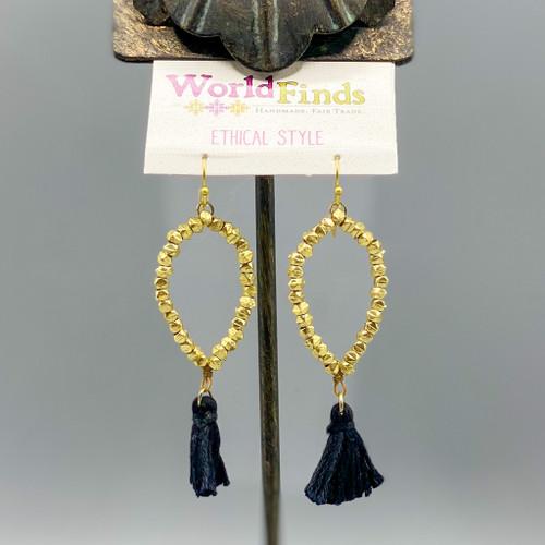 Gold Dewdrop Tassel Earrings