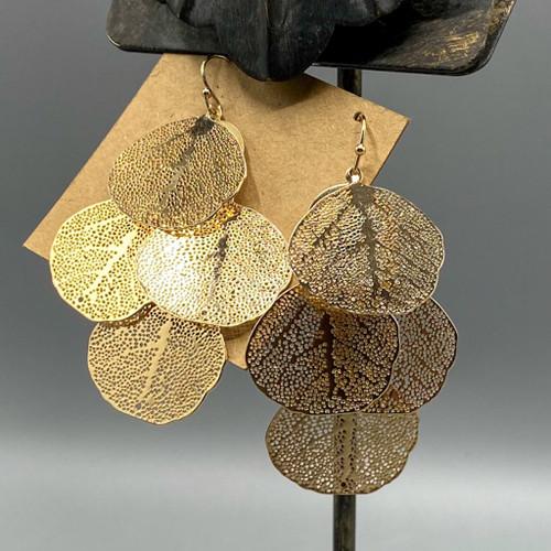 Gold Sea Leaf Chandelier Earrings