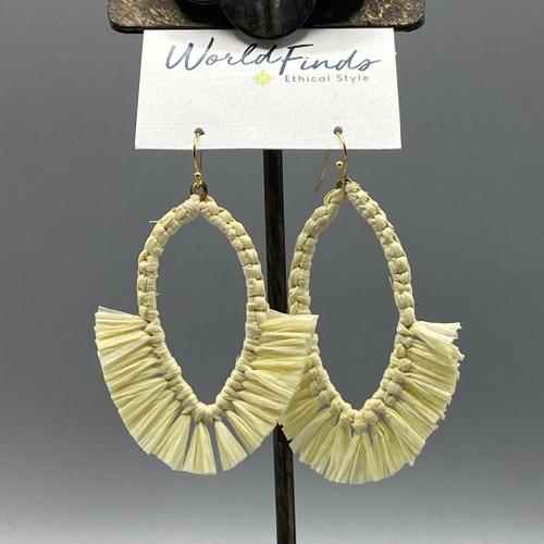 Raffia Fringe Drop Earrings