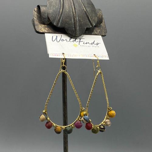 Kantha Beaded Fan Earrings