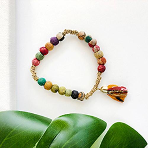 Kantha Trinity Fringe Bracelet