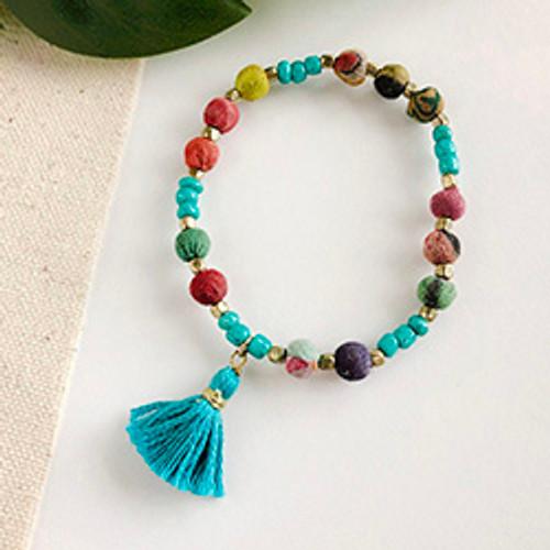 Dotted Turquoise Kantha Bracelet
