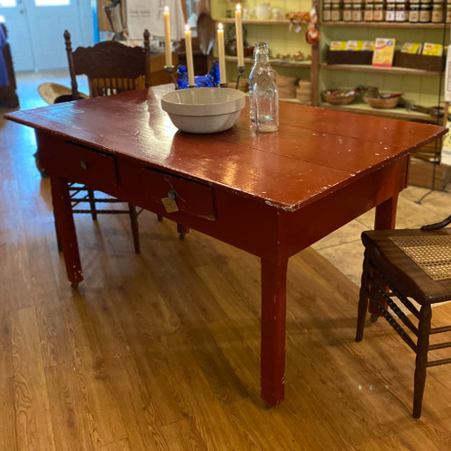 Antique Chipped Red Farm Table