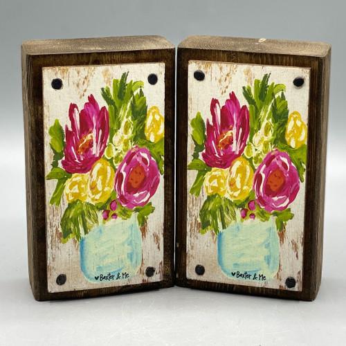 Flowers in a Vase Happy Block