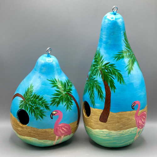 Hand-Painted Flamingo & Palm Trees Gourd Bird House