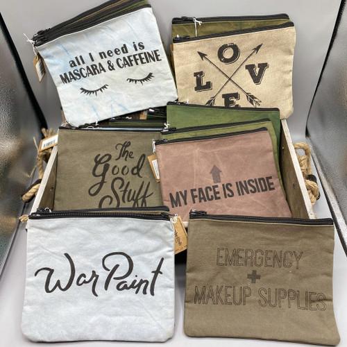 Canvas Zip Pouch / Makeup Bag