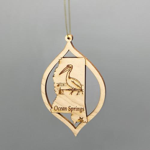 Maple Wood Pelican Ocean Springs Ornament