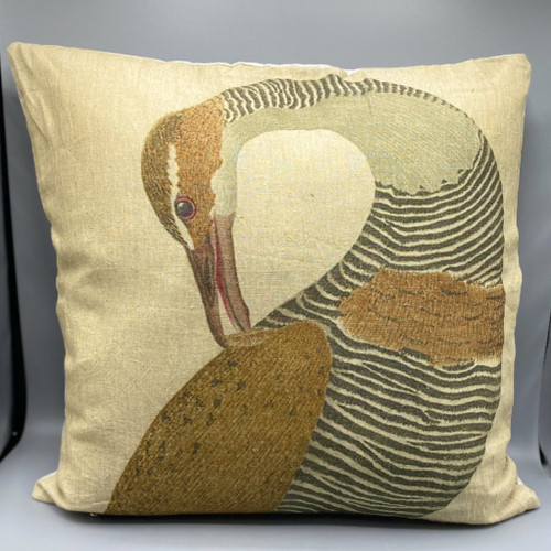 Square Crane Linen Pillow