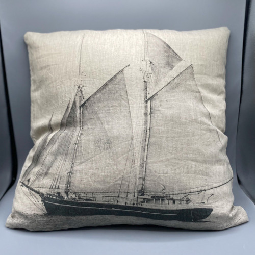 Square Linen Sailboat Pillow