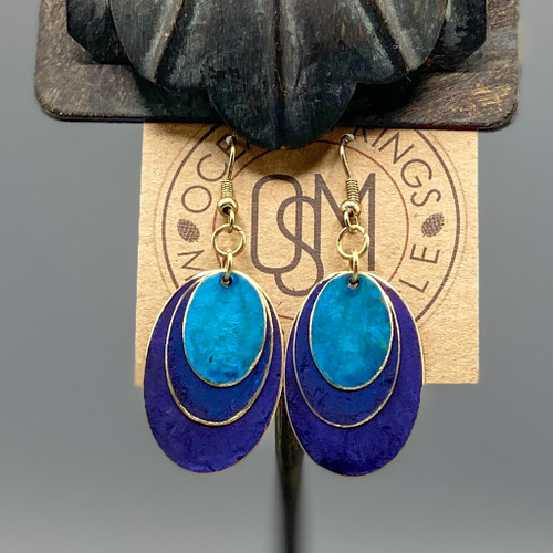 Layered Blue Patina Ovals Earrings