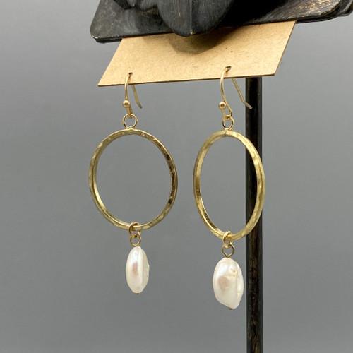 Gold Circle Pearl Drop Earrings