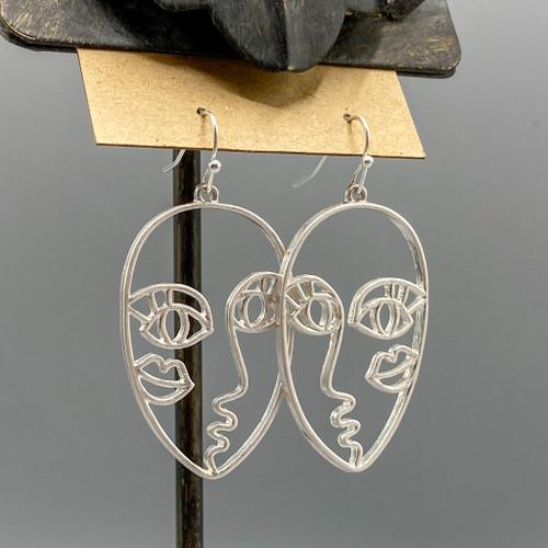 Silver Kissy Face Earrings