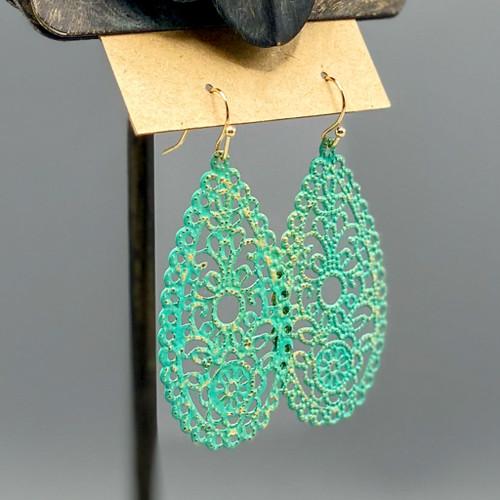Patina Filigree Teardrop Earrings