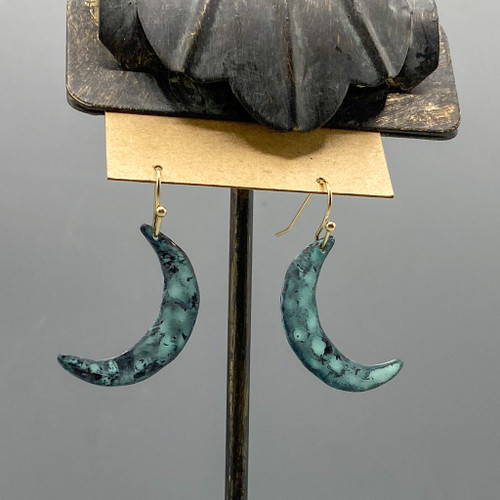 Patina Crescent Moon Earrings