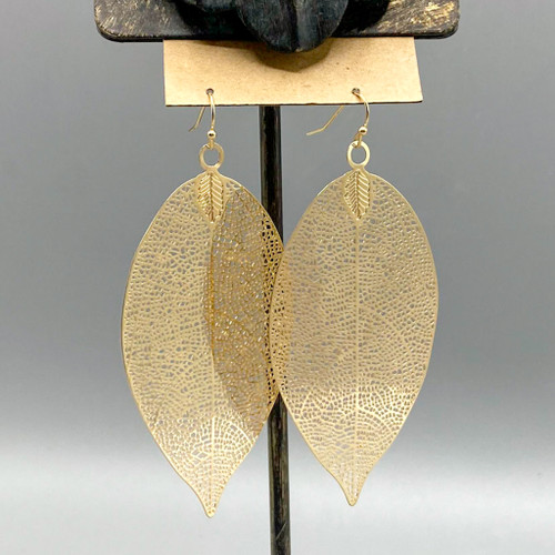 Gold Large Leaf Earrings