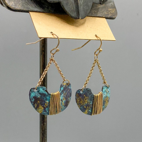 Fire Patina Crescent Earrings