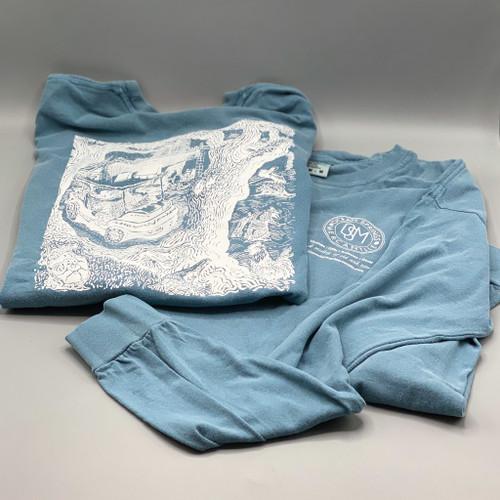 Long Sleeve Blue Ocean Springs Mercantile T-Shirt, art by Stig Marcussen