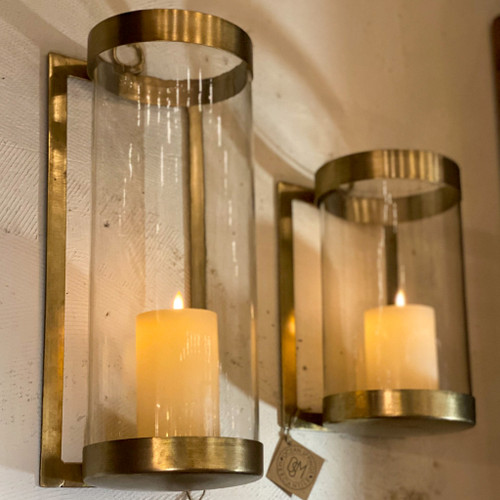 Large Glass & Brass Finish Wall Mounted Hurricane Sconce