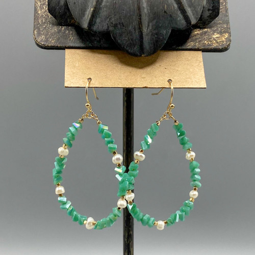Gold & Green Beaded with Freshwater Pearl Accent Earrings