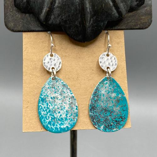 Blue Washed Silver Teardrop Earrings