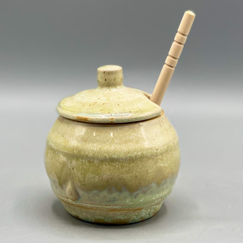 Opal Glaze Stoneware Honey Jar