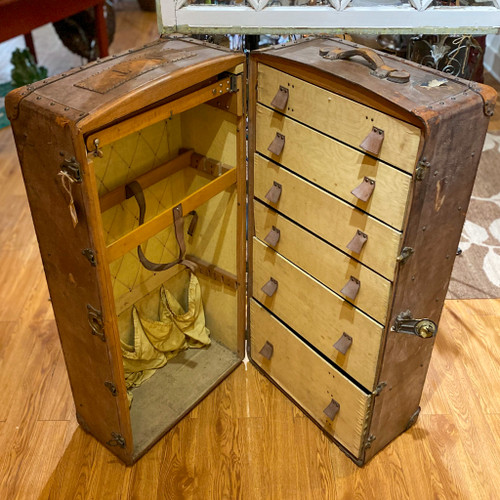 Antique Steamer Leather Trunk