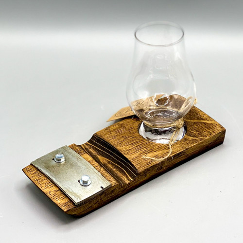 Barrel Art Coaster w/Cigar Holder & Glencairn Glass