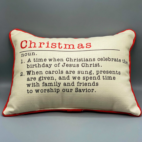 Christmas Definition Pillow with Red Piping, birthday of Jesus Christ