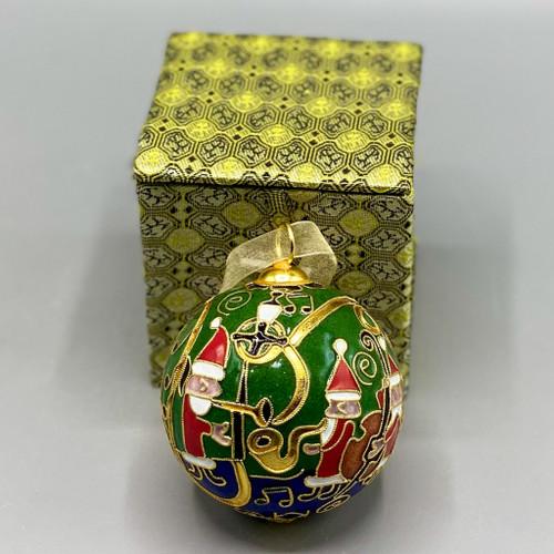 Dancing Santas Cloisonné Ornament