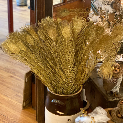 Glittered Gold Peacock Feather Spray