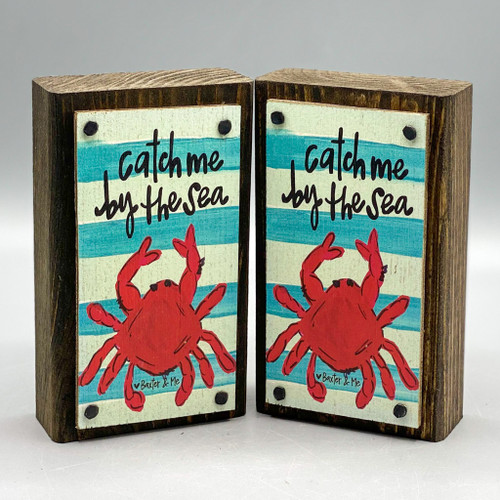 Catch Me by the Sea Crab Wood Happy Block