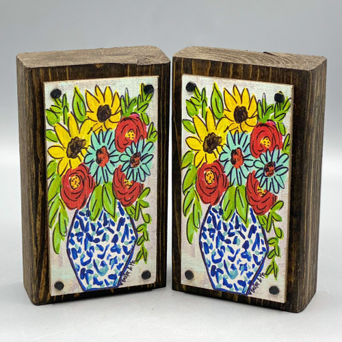 Blue Vase with Flowers Wood Happy Block