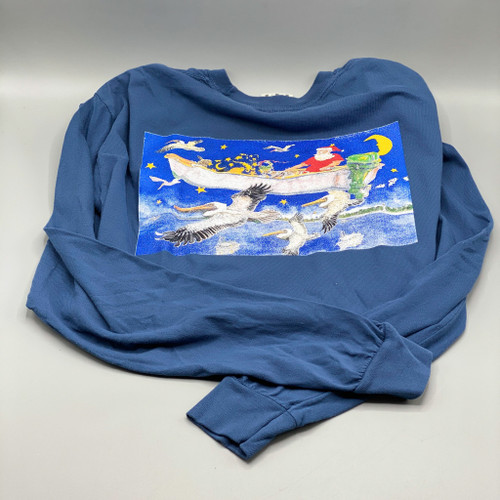Flying Santa Ocean Springs Mercantile Long Sleeve T-Shirt, art by Stig Marcussen