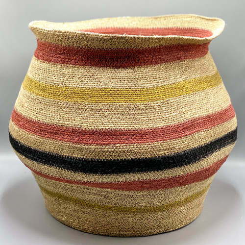 Hand-Woven Seagrass Striped Basket
