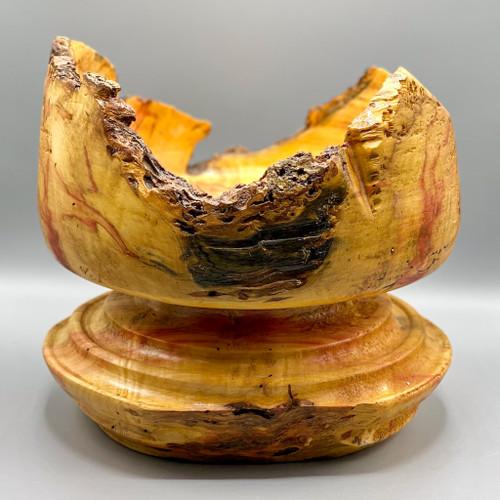Live Edge Wood Pedestal Bowl