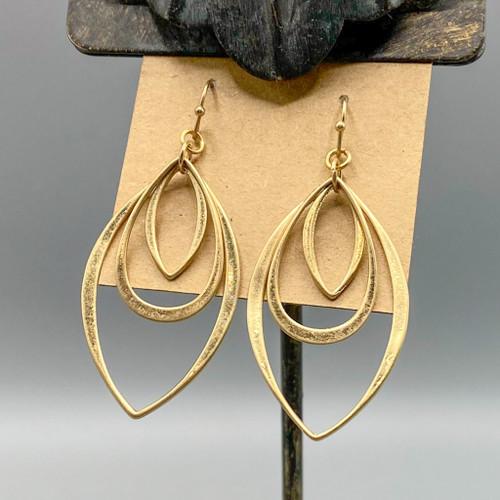 Gold 3 Drop & Marquis Earrings