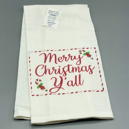 """Merry Christmas Y'all"" Tea Towel"