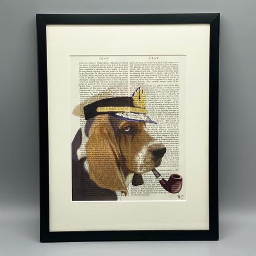 Framed Basset Hound Sea Dog Print on Antique Book Page