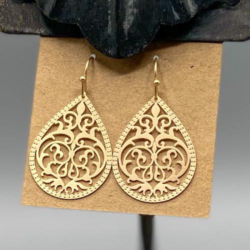Gold Teardrop Swirl Earrings