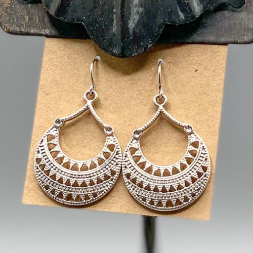 Silver Bali Crescent Drop Earrings