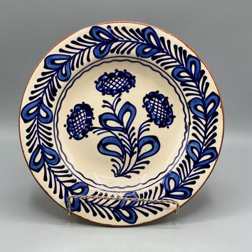 White & Blue Terra Cotta Plate