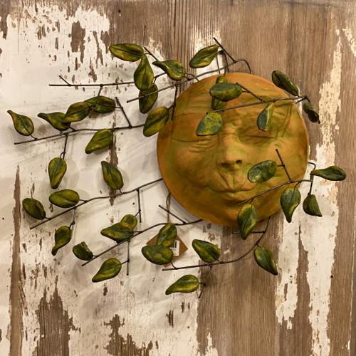 Wind Blown Sun Face w/Clay Leaves Wall Decor
