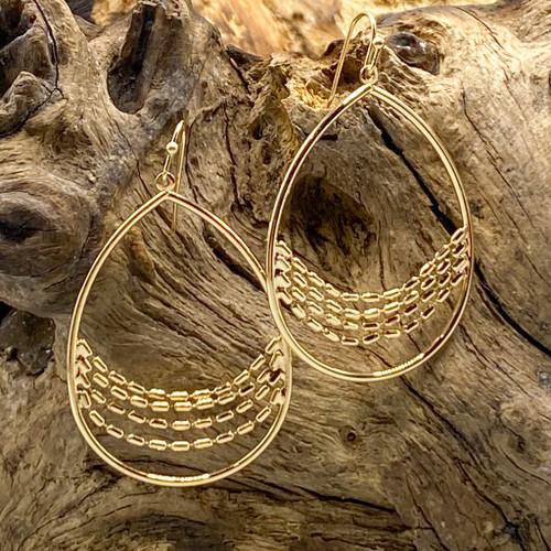 Gold Teardrop Swing Earrings