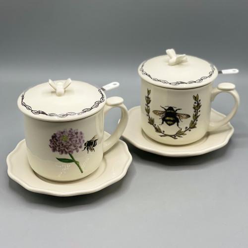 Tea Cup w/Strainer, Plate & Lid